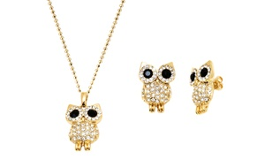 Owl Earrings And Pendant Set In 18k Gold Plated Brass With 1/10ct. Swarovski Elements