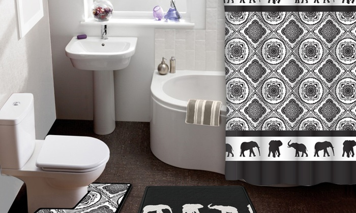 elephant parade 15piece shower curtain and bath rug set elephant parade 15
