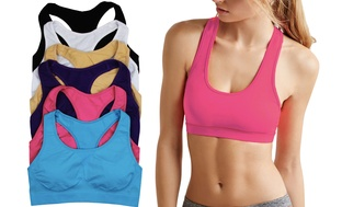 6 Pack Keyhole Cut-Out Sports Womens Bras