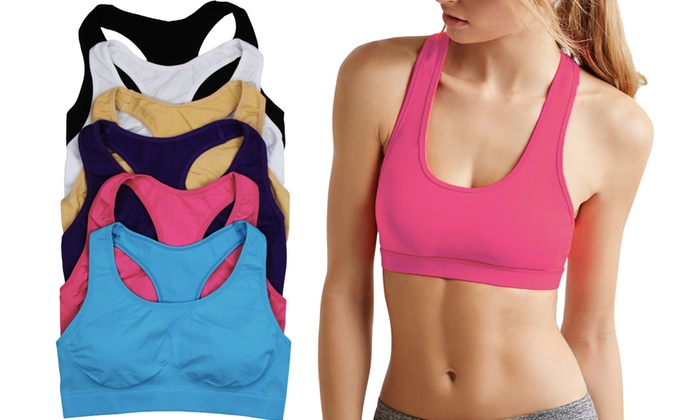 Women's Supportive Racerback Sports Bras (6-Pack)