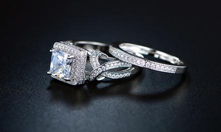 Princess-Cut Cubic Zirconia Bridal Ring Set