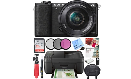 Sony Alpha a5100 or a6000 24.3MP 1080p Full HD Mirrorless Digital Camera with 16–50mm Lens and Printer Bundle