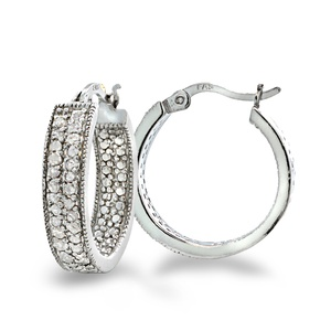 0.5 CTTW Diamond 2-Row Hoop Earrings