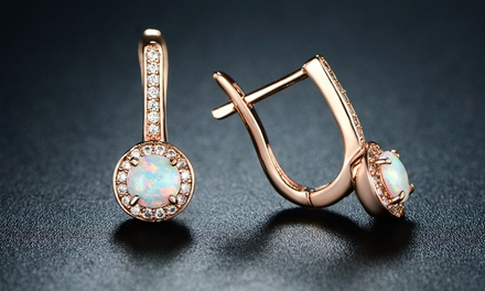 1.10 CTTW Lab Created Opal and Crystal Accents Halo Huggie Earring in 18K Rose Gold Plating