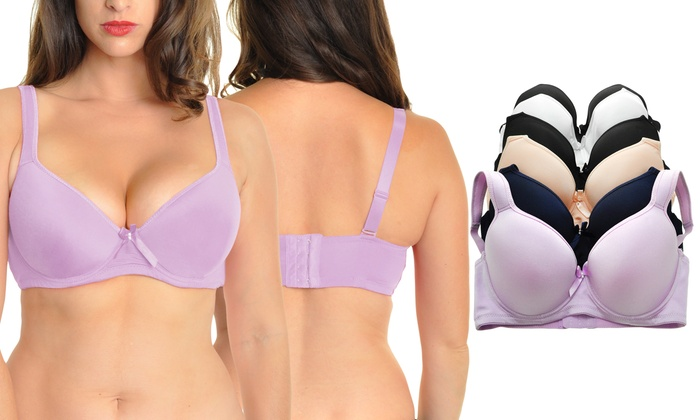 0e8847e69fd Angelina Wired Padded Plus Size Bras with Convertible Straps (6-Pack)