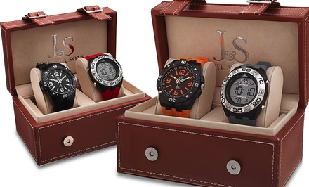 Joshua & Sons Men's Sports-Watch Gift Set with Black Analog/Red Digital or Orange Analog/Gray Digital