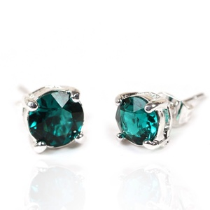 1 Pair of Emerald Swarovski Elements Stud Earrings