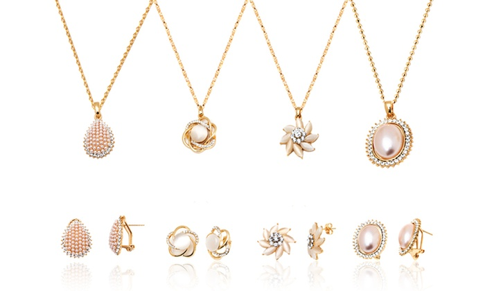 Pearl earrings pendant sets groupon goods 18k gold plated earrings and pendant sets with swarovski crystals aloadofball Images