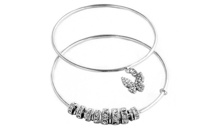 Bangles with Crystal Butterfly and Charms (Set of 2)