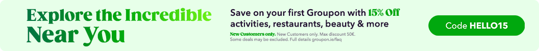 15% Off Your First Groupon! Use Code: HELLO15 at checkout