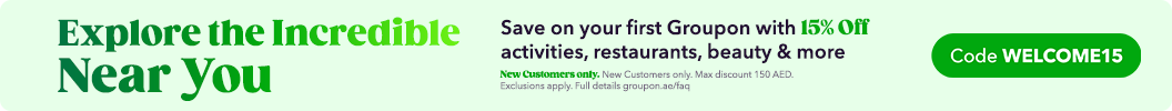 Start saving instantly! 15% off your first Groupon deal! Use code: WELCOME15