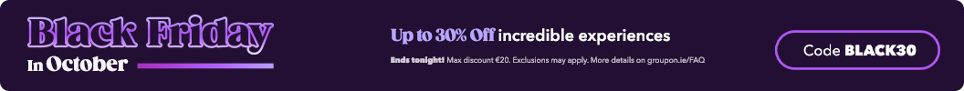 The sale ends tonight, don't sleep on your chance! Use code BLACK30 and enjoy up to an extra 30% off amazing experiences for everyone. Ends tonight. Some deals excluded.