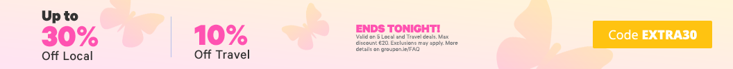 Wrap up the week with some extra savings   Use code EXTRA30 and enjoy up to an extra 30% off Local and 10% off Travel. Ends tonight. Some deals excluded.