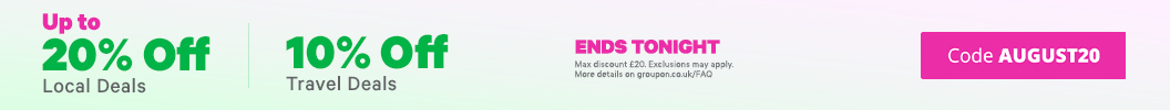 August Extra Discounts inside! Use code AUGUST20 and enjoy up to an extra 20% off Local and 10% off Travel. Ends tonight. Some deals excluded.