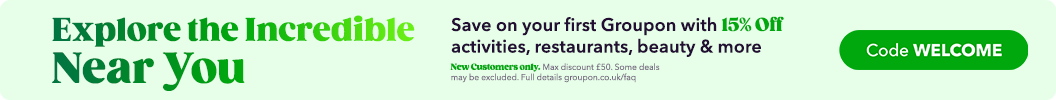 15% Off Your First Groupon! Use Code: WELCOME at checkout. New customers only