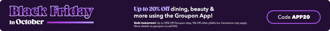 Use code APP20 and enjoy, App users, you save more today! Up to an extra 20% off dining, beauty & more using the Groupon App. Ends tomorrow. Some deals excluded.