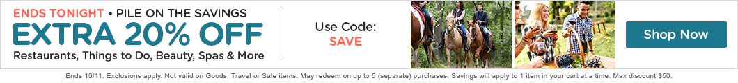 20% Off Things to Do, Dining, Beauty, and More w/ Code SAVE