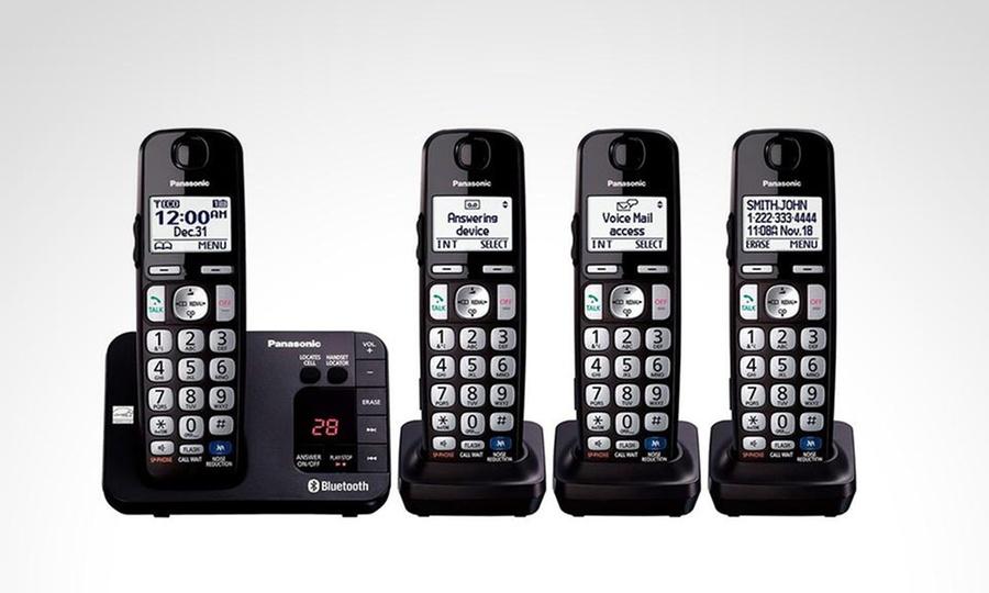 Shopping México: Teléfono inalámbrico Panasonic KX-TG454 con 4 auriculares y enlace a celular con Bluetooth. Incluye envío