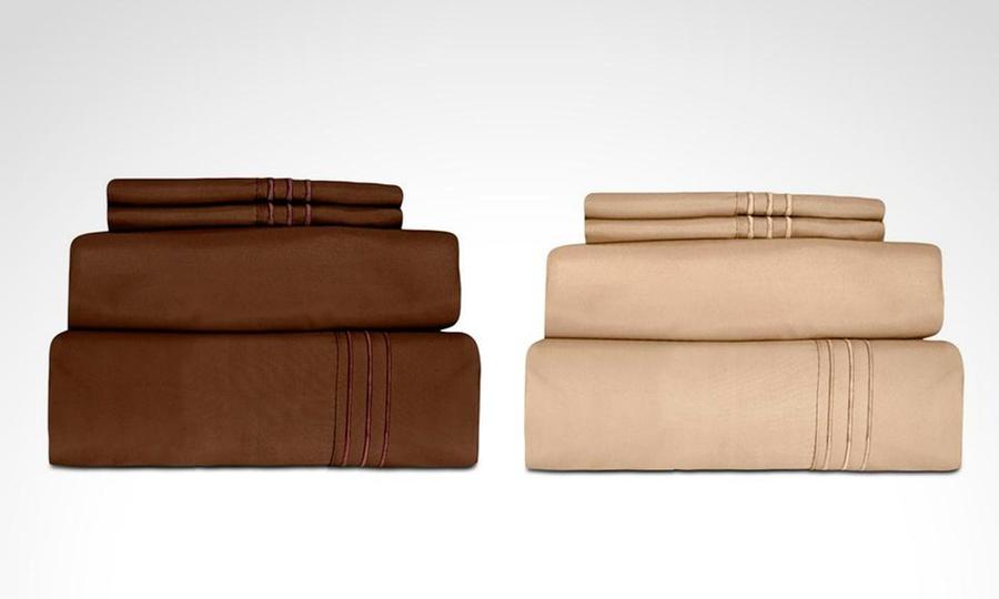 Shopping México: Juego de sábanas de 1500 hilos color chocolate o caqui en tamaño a elegir. Incluye envío