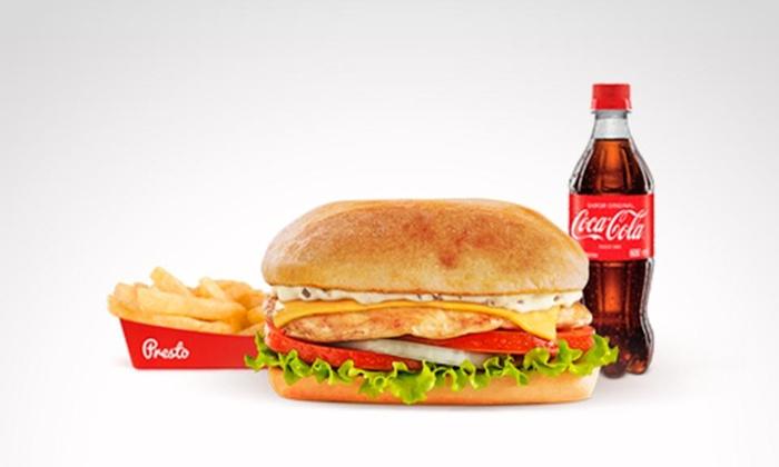 Presto®: $10.600 en vez de $17.600 por sándwich de pechuga de pollo con queso americano + papas o aros de cebolla + gaseosa en Presto®