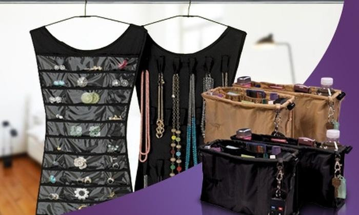 Groupon Shopping (Organizador): $10.990 en vez de $29.790 por pack organizador de cartera negro + organizador de joyas negro o fucsia. Despacho incluido