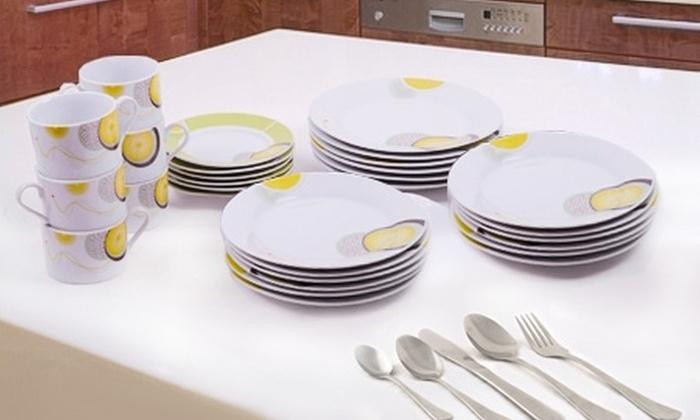 Valle Escondido: $22.990 en vez de $47.270 por loza de porcelana de 30 piezas + 24 piezas de cuchillería a granel Giorgio Albertti de Valle Escondido con despacho. Elige color
