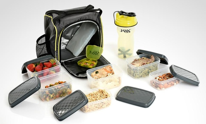Groupon Shopping: Jaxx fit container con contenedores para control de porciones, pastillero y shaker en color a elección. Incluye despacho