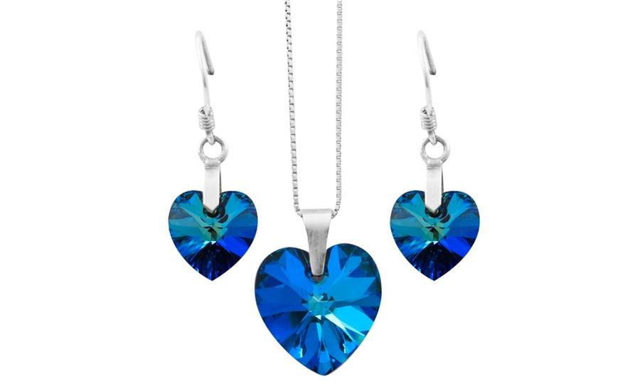 1ad7b2780e6a Juego de cadena y aretes Corazón hechos con cristales de Swarovski® en  color a elección. Incluye envío