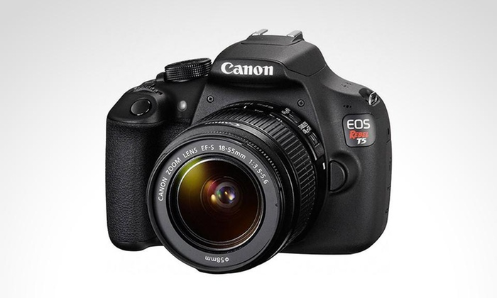 Groupon Shopping: Cámara EOS Rebel T5 + lente EF-S 18-55 mm. Incluye despacho