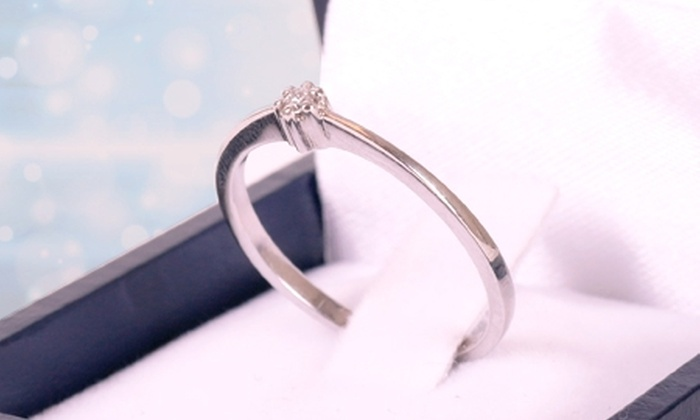 VICENZA - VICENZA: $159.990 en vez de $325.000 por anillo solitario de oro blanco de 18 quilates con brillante en Vicenza