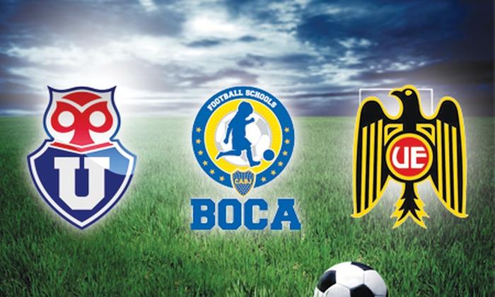 Escuelas de Fútbol Universidad de Chile - Unión Española - Boca Juniors: $18.900 en vez de $110.000 por 8 clases durante 2 meses en Escuelas de Fútbol Universidad de Chile, Boca Juniors o Unión Española. Elige escuela y sucursal (83% off)