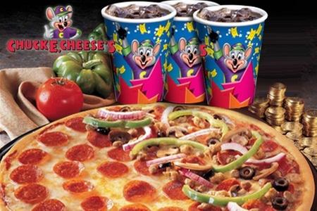 Chuck E. Cheese's: $7.945 en vez de $15.890 por pizza grande + 3 vasos de bebida con refill + 25 fichas en Chuck E. Cheese's. Elige sucursal