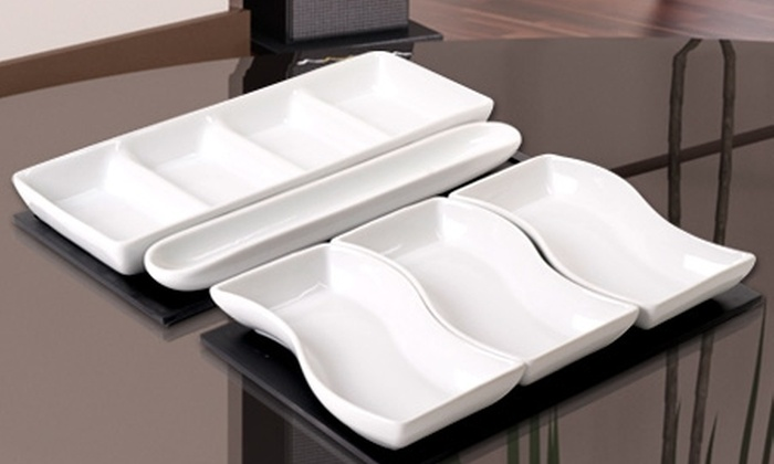 Valle Escondido: Paga $9.990 por 2 fuentes de porcelana con base de madera marca Giorgio Albertti en Valle Escondido. Incluye despacho