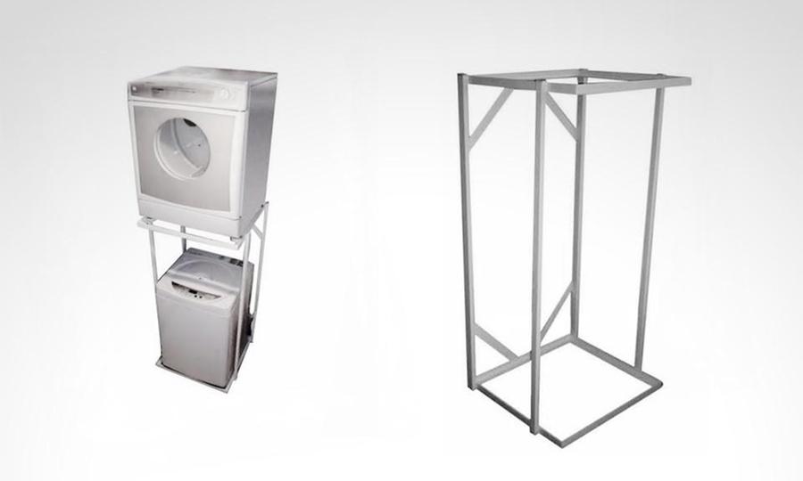 Soporte para secadora encima lavadora finest excellent plus ayd espacio en la cocina mueble - Rack lavadora secadora ...
