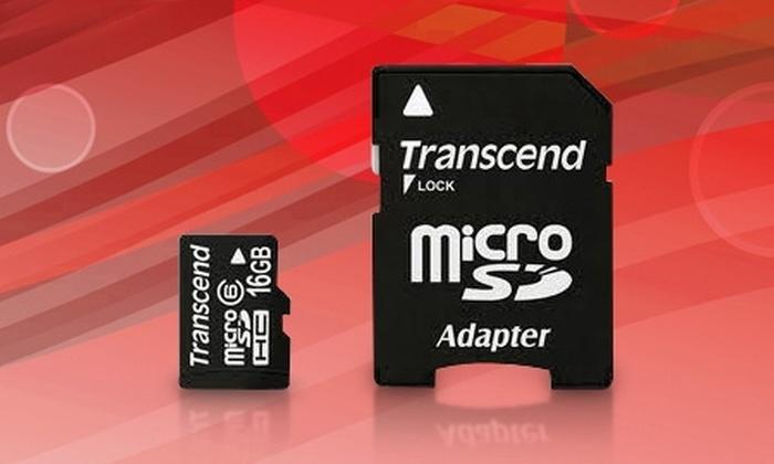 Groupon Shopping (Tarjeta de memoria flash): Paga $16.990 por 2 tarjetas de memoria micro SD Transcend de 16 GB con despacho
