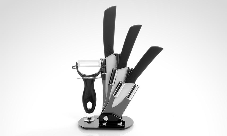 Groupon Shopping: Set de 3 cuchillos con hoja cerámica + pelador de verduras + rack. Incluye despacho
