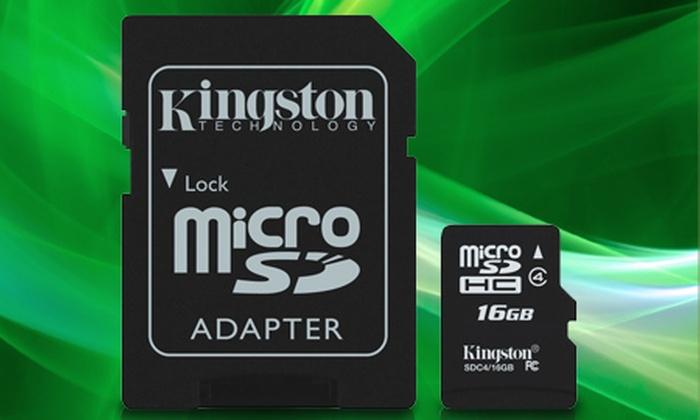 Groupon Shopping (Kingston 16GB): Paga $19.990 por 2 micro SD Kingston 16 GB + adaptador con despacho