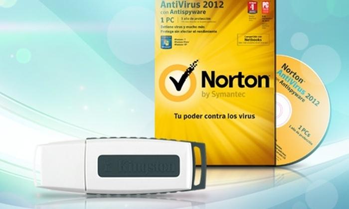 Groupon Shopping (Antivirus Norton 2012 y Pendrive Kingston 4 GB): Paga $11.990 por antivirus Norton 2012 para 1 PC + pendrive Kingston de 4 GB con despacho