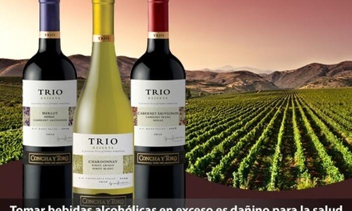 Bembos: Paga desde S/.52.50por pack de 2 o 3 vinos de la línea de ensamblajes Trio de viña Concha y Toro