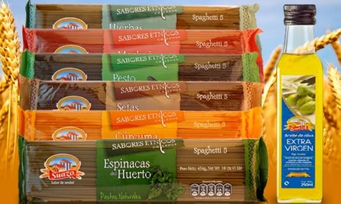 Groupon Shopping (Pastas): $6.974 en vez de $13.948 por pack de 12 pastas de sabores étnicos + 2 aceites de oliva extra virgen Suazo con despacho