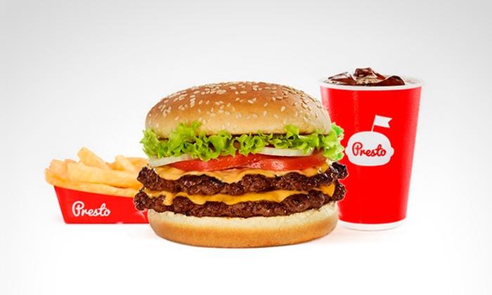 Presto®: $13.700 en vez de $22.700 por hamburguesa doble carne con queso + papas medianas + gaseosa de 480 mlen Presto®