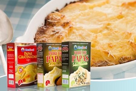 Groupon Shopping (puré instantáneo): $9.490 en vez de $17.610 por pack de 6 papas gratinadas + 2 puré instantáneo merkén + 2 puré instantáneo ciboulette marca Alcafood. Incluye despacho