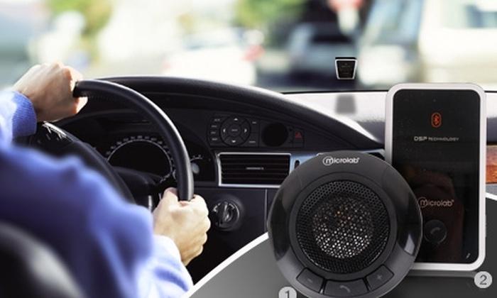 Groupon Shopping (manos libres): Paga desde $24.990 por manos libres Bluetooth marca Microlab con recarga solar y opción a visor LCD para auto. Incluye despacho