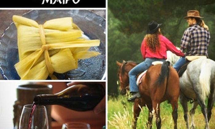 Cumbres del Maipo: Cabalgata en el Cajón del Maipo: Paseo guiado para 2 + almuerzo campestre con 50% off en Cumbres del Maipo