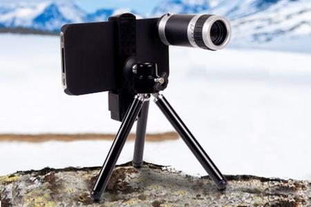 Groupon Shopping (lente zoom): Paga $14.990 por lente zoom de 8X para iPhone 4 y 4S + trípode + carcasa con Mediaplayer Home Entertainment. Incluye despacho