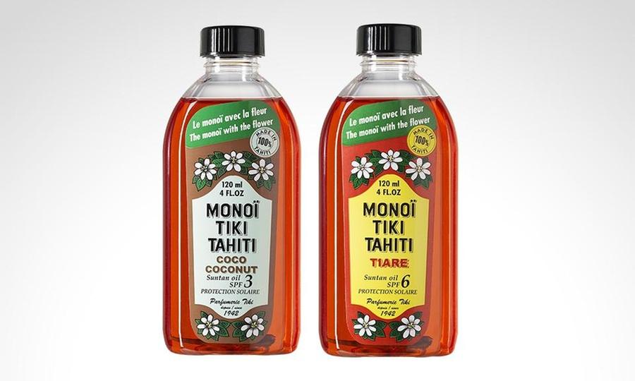 Groupon Shopping: 1 o 2 aceites bronceadores de Monoï Tiki Tahiti SPF3 a elección. Incluye despacho