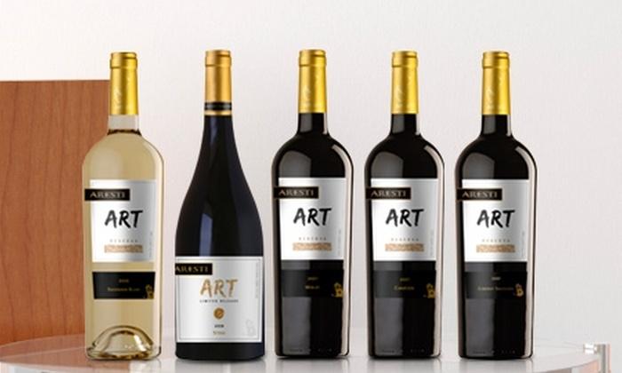 Viña Aresti (Vino ART Reserva): $13.525 en vez de $27.050 por 6 botellas ART Reserva a elegir entre Cabernet Sauvignon, Carménère, Merlot, Sauvignon Blanc o Syrah de Viña Aresti. Incluye despacho