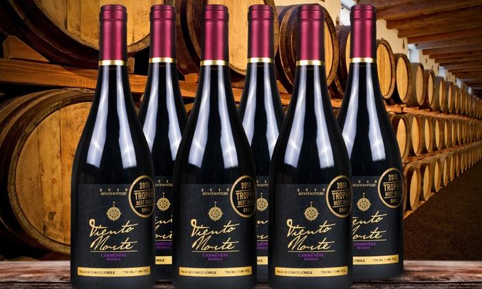 Viña Alto Roble: $21.990 por 6 botellas de vino Viento Norte carménère reserva de Viña Alto Roble con despacho