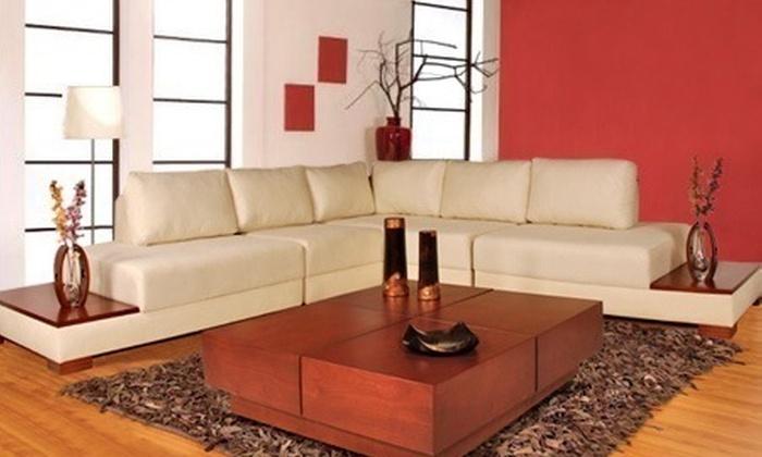 : $1.990.000 en vez de $4.399.000 por sala modular de 6 puestos con mesas incorporadas + 6 cojines decorativos en Amoblando Pullman. Elige material y color (55% off: ahorro de $2.409.000)