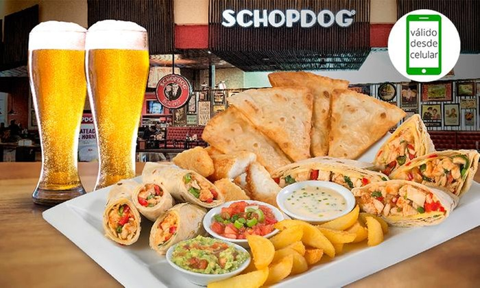 Schopdog: Desde $6.990 por chorrillana grandiosa o titánica + 2 o 3 schop o bebidasen Schopdog. Elige entre 32 sucursales